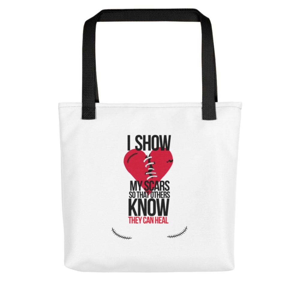 Image of I show my scars tote bag in white