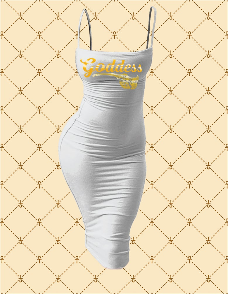 Image of Goddess Spaghetti Strap Bodycon Midi Dress