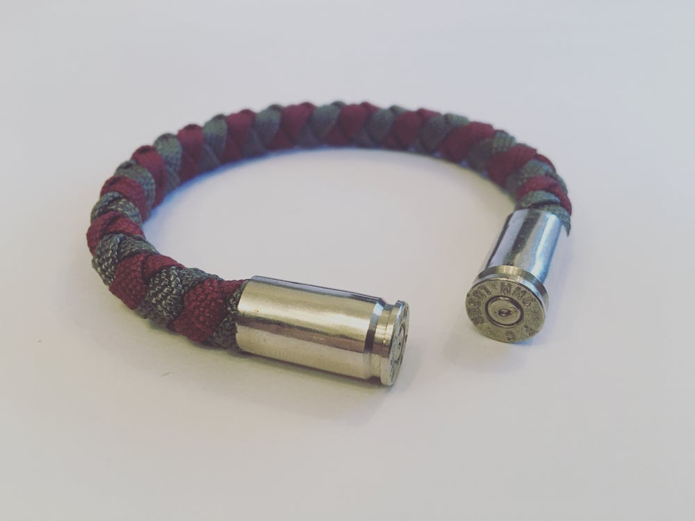 Image of KMP 'BULLETZ' 9mm Bracelet (Maroon/Grey)