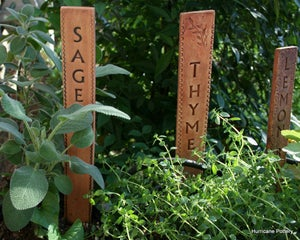 Image of Set of 8 Tall Ceramic Herb Garden Markers