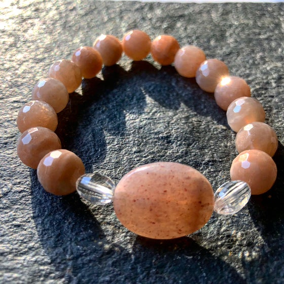 Image of Peach Moonstone with barrel faceted crystal quartz