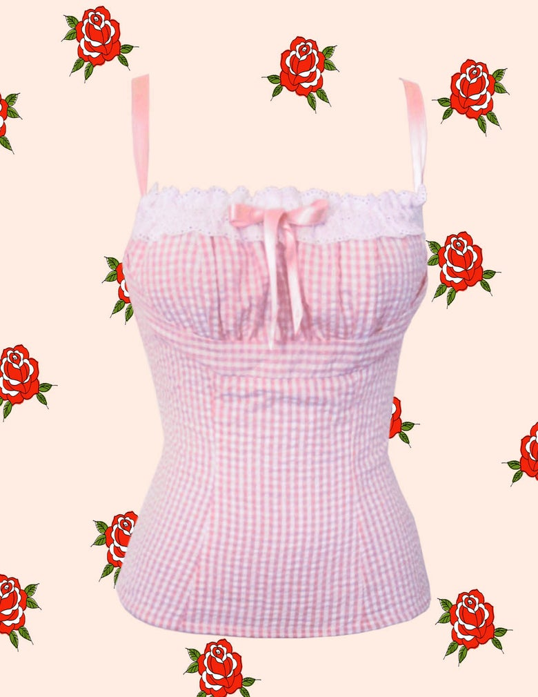 Image of Bardot Top/ Blush Pink Gingham