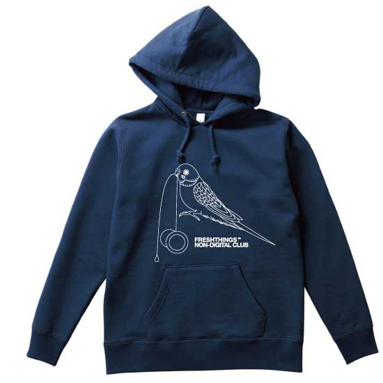 Image of YOYO BIRD HEAVYWEIGHT HOODED SWEATSHIRT / Navy x White