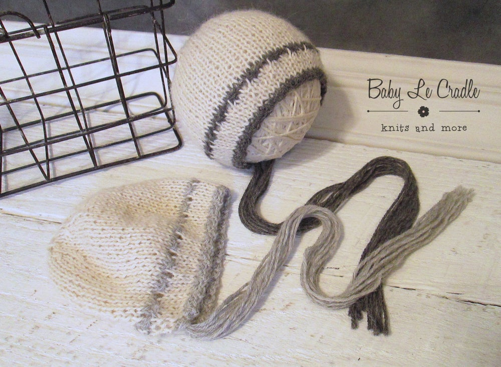 Image of Lux Alpaca NB Bonnet - Brown and Cream