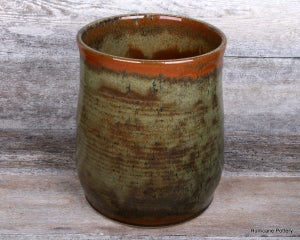 Image of Hand Thrown Ceramic Kitchen Crockery. Stoneware Cooking Utensil Holder. Organizer