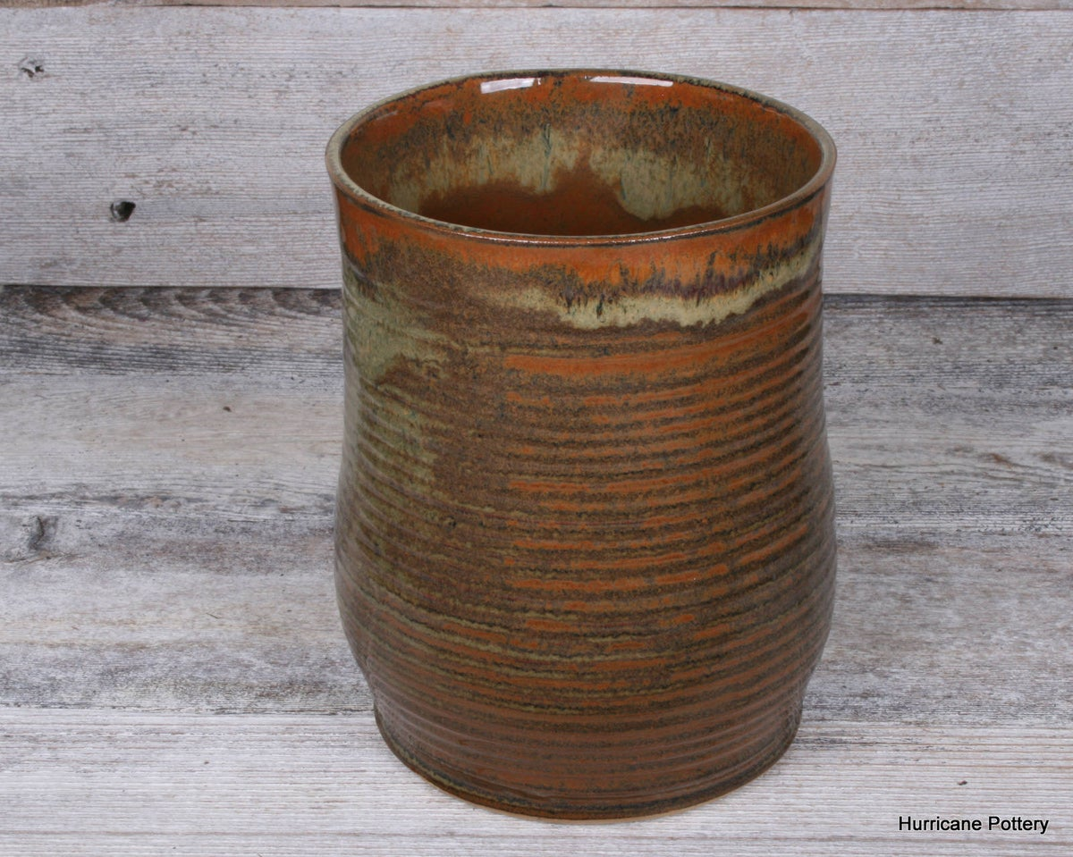 Image of Hand Thrown Ceramic Kitchen Crockery. Stoneware Cooking Utensil Holder. Organizer