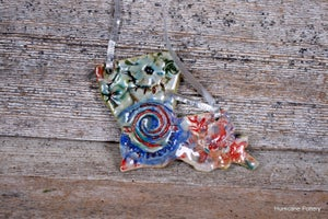 Image of Handmade Ceramic Louisiana Ornament / Wall Hanging of Porcelain Clay