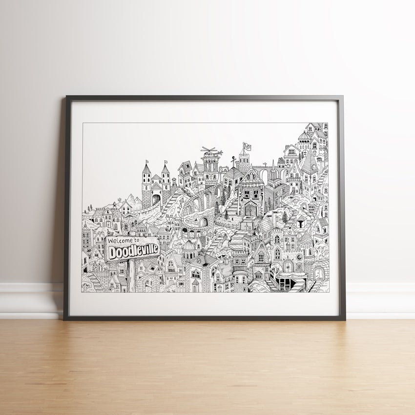 Image of Welcome to Doodleville - art print for kids!