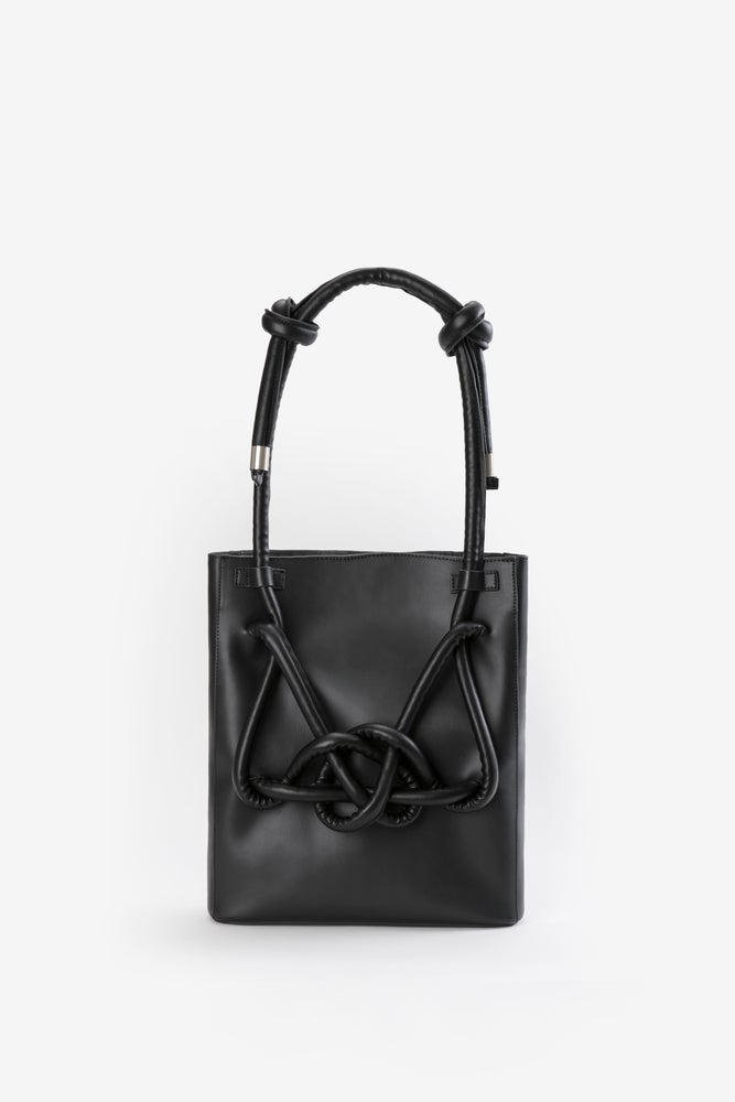 Image of ZOEE 2 ways chunky knot charcoal black leather bag with adjustable strap
