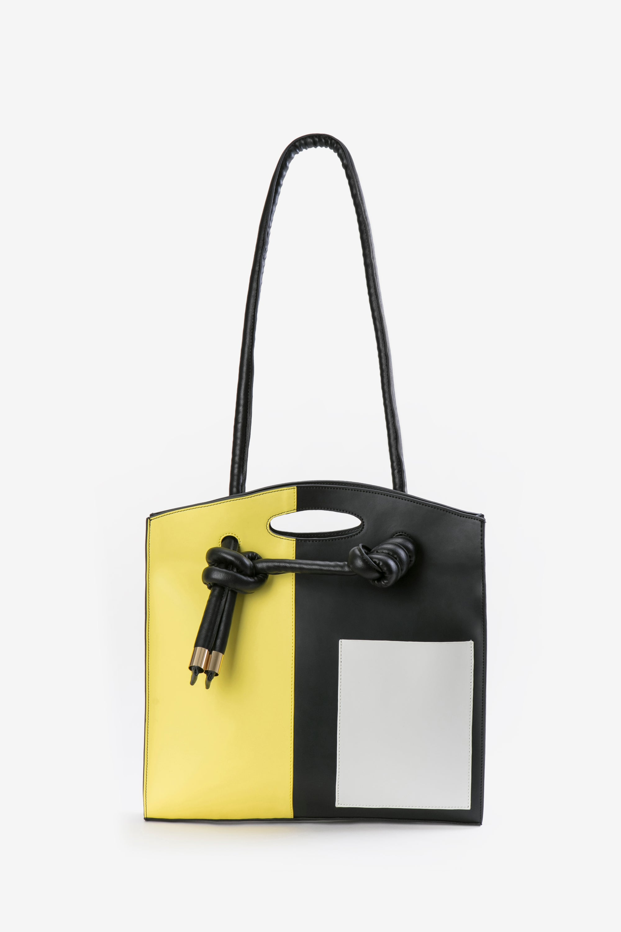 Image of ZOEE 2 ways multicolour patchwork knot leather bag - yellow combo