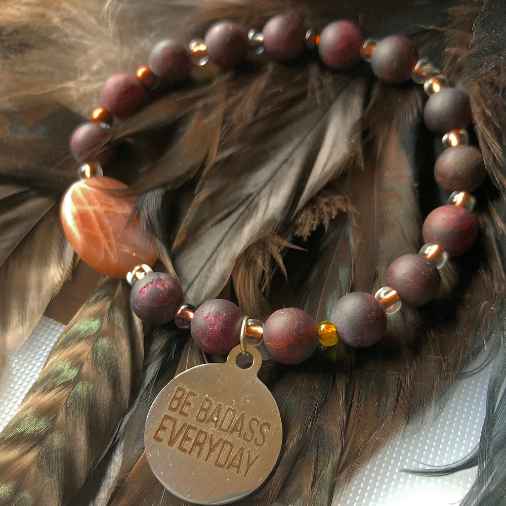 Image of BE Badass Everyday/Peach faceted Moonstone and Frosted Matte Garnet