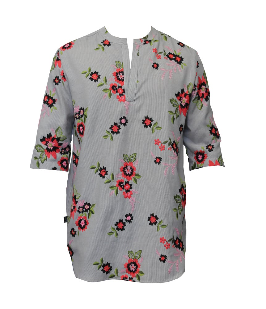 Image of Embroidered Linen Boho Dolphin Shirt