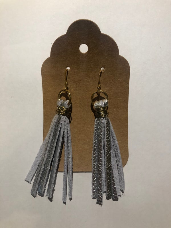 Image of Leather Earrings - Silver Tassels