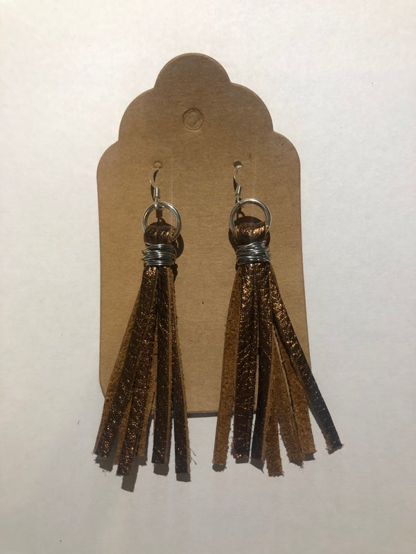 Image of Leather Earrings - Brown Metallic