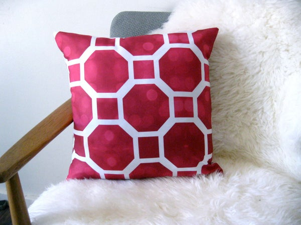 Image of Octagon Hot Pink Cushion