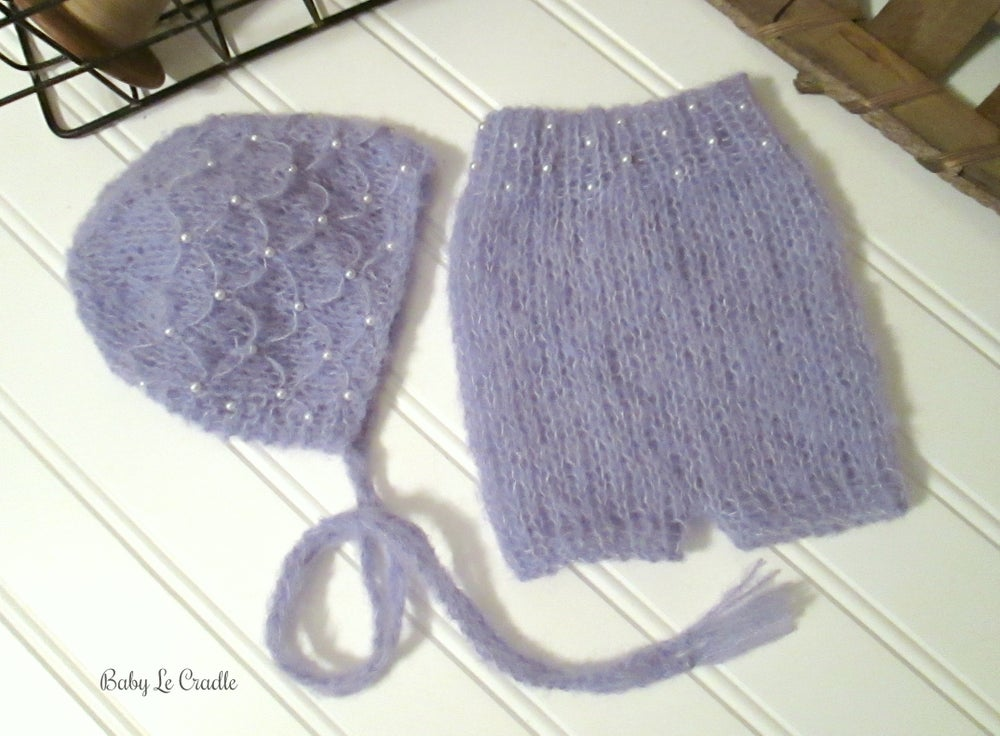 Image of RTS - Trellis Bonnet and Shorts Set with Pearls - Lavender