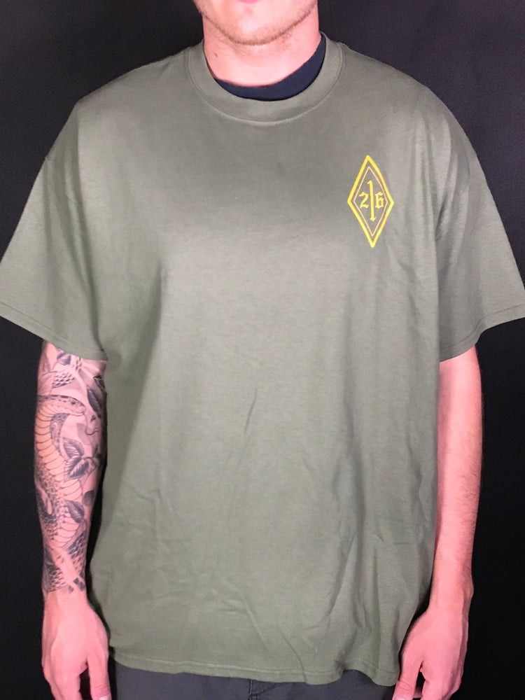 Image of Olive Green Skull Logo Tee (gold)