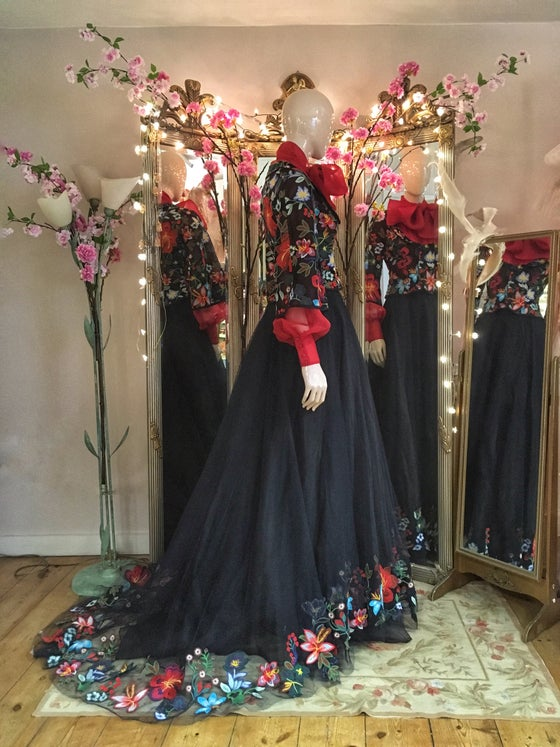 Image of SAMPLE SALE; vibrant embroidered flower 'Mariachi' ballgown skirt and fitted jacket, UK size 8