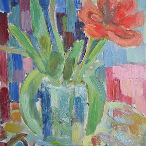 Image of 1979, Large Still Life, 'Red and Yellow Tulips.'