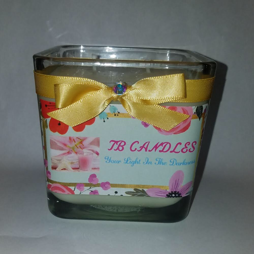 Image of SQUARE GLASS JAR CANDLE - 12oz (NO COVER)