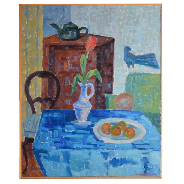 Image of 1965, Large Still Life, 'Red Tulip and Blue Bird.' WAS £595