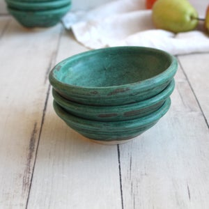 Image of Copper Green Matte Stoneware Pottery Prep Bowls Made in USA Ready to Ship
