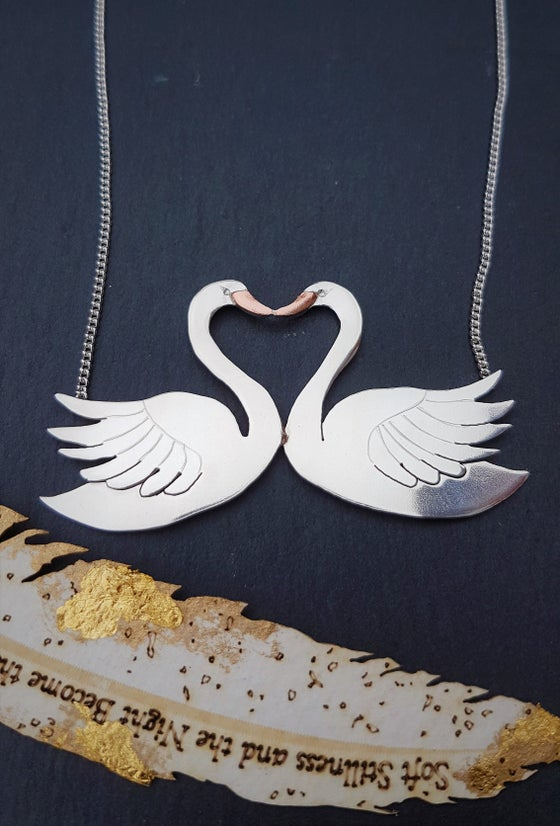 Image of Kissing Swan Necklace