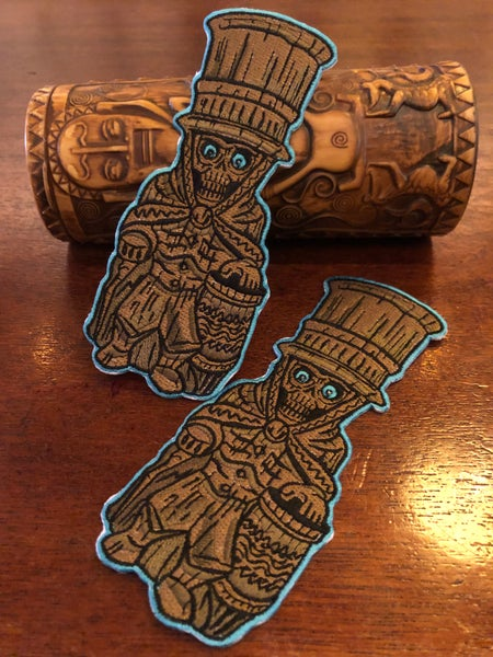 "Image of 6"" ETB Hat Box Ghost Tiki Mug Iron On Patch"