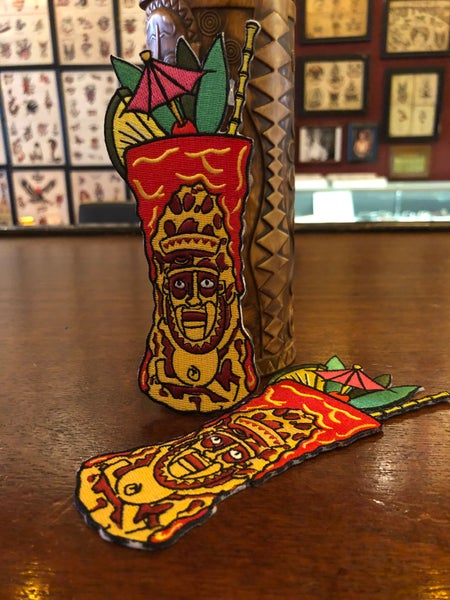 "Image of 6"" Krakatoa Tiki Mug Iron On Patch"