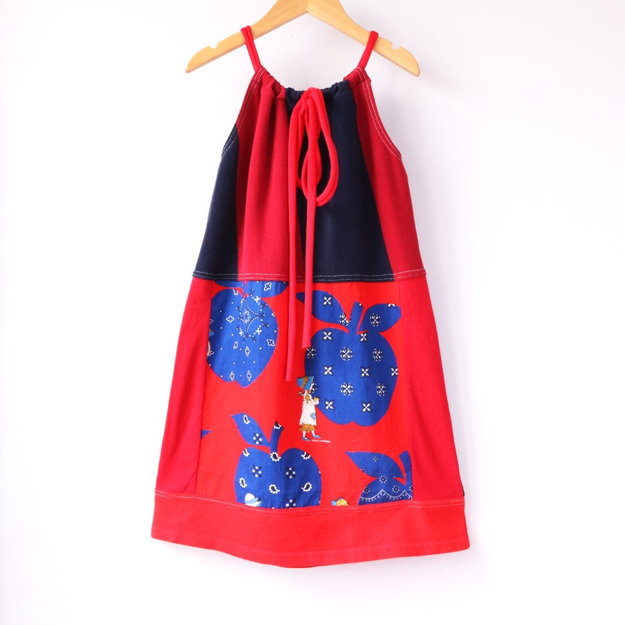 Image of holly hobbie 8/10 drawstring bow tie top red stripe navy blue tunic
