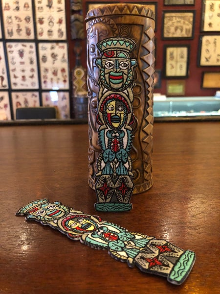 "Image of 6"" ETR Tiki Totem Iron On Patch"