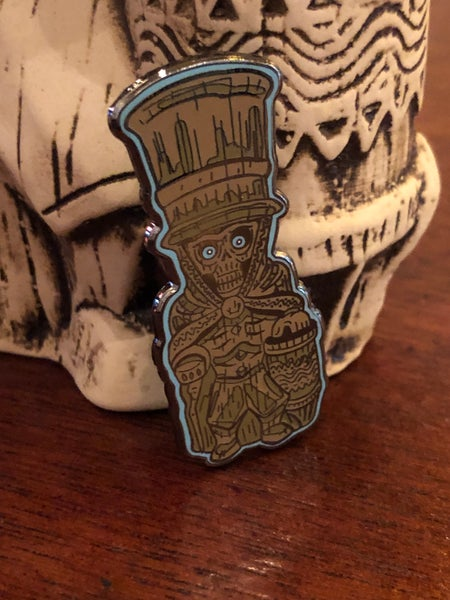 "Image of 2"" Hard Enamel ETB Hat Box Ghost Tiki Mug Pin"