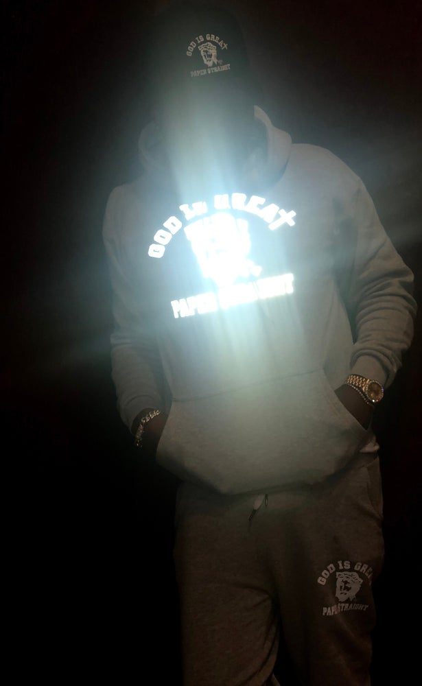 Image of GOD IS GREAT PAPER STRAIGHT REFLECTIVE LOGO HOODIE