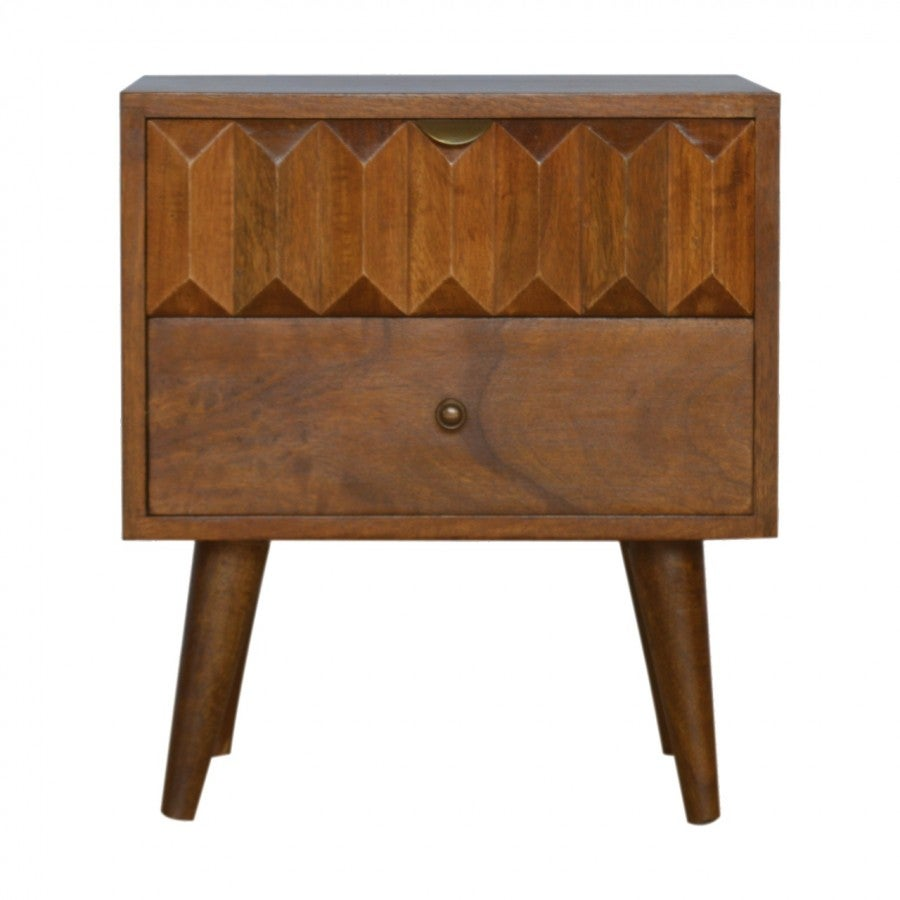 00b106239729 Image of Mid Century Style Dark Wood Bedside Cabinet Table With Hand Carved  Drawer Front ...