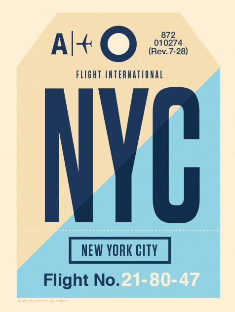 Image of Flight Tag Prints - NYC