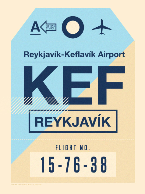 Image of Flight Tag Prints - Reykjavik