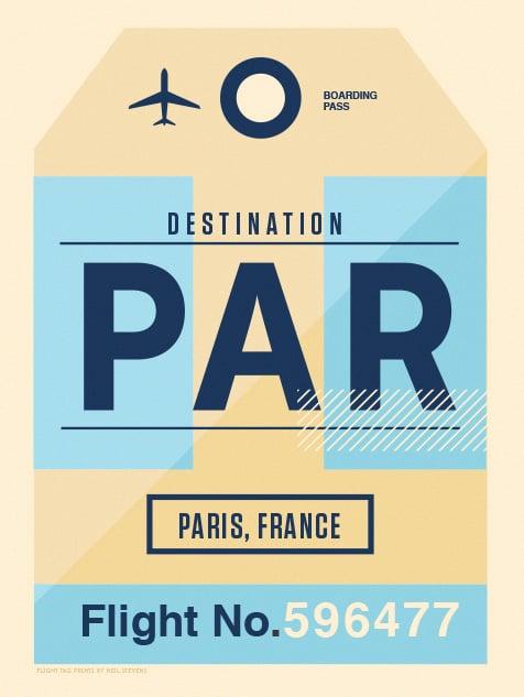Image of Flight Tag Prints - Paris