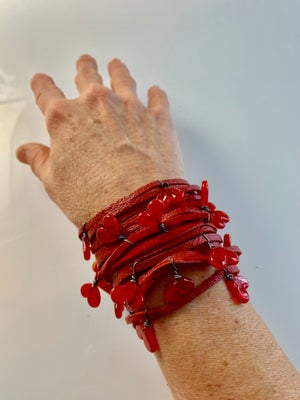 Image of Red Spaghetti Heart Bracelet