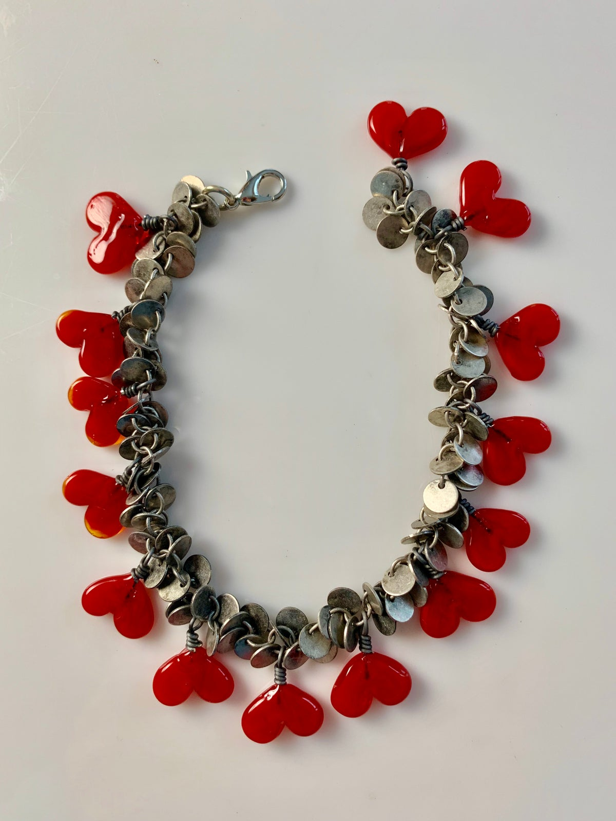 Image of Red Heart Dangle Bracelet