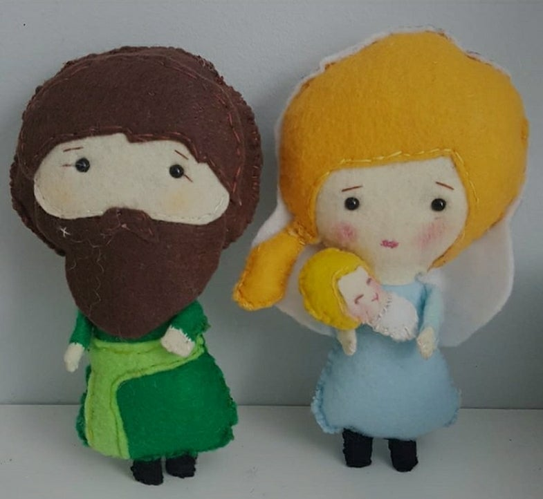 Image of Mary, Joseph & Baby Poseable Felt Dolls