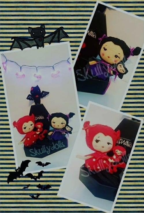 Image of Custom Order for Devil Doll or Batgirl Poseable Felt Dolls