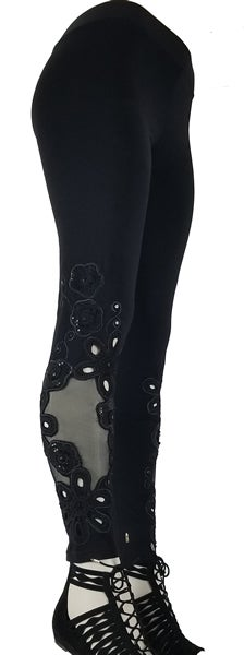 Image of Sequin Black Flowers FW6084