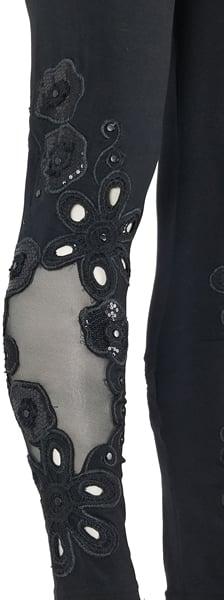 Image of Sequin Black Flowers FW6084