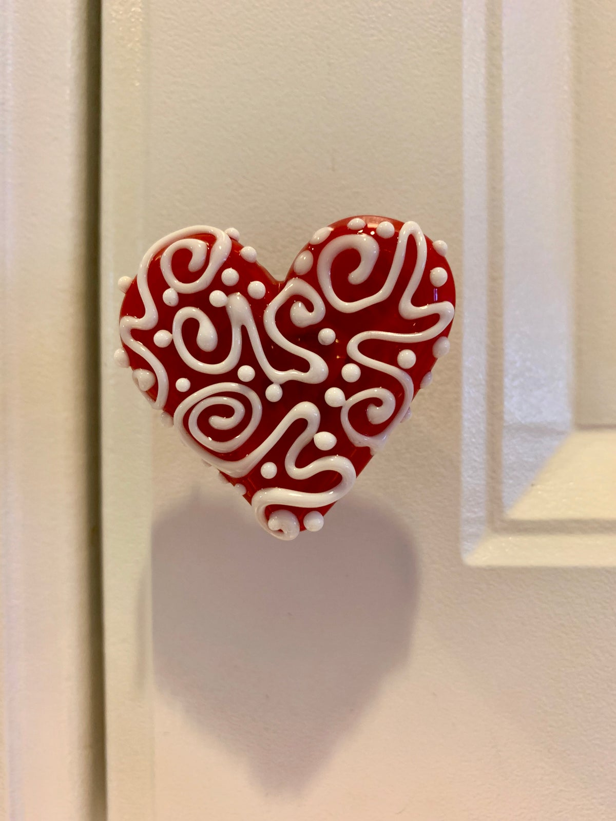 Image of Red and White Heart Drawer Pull