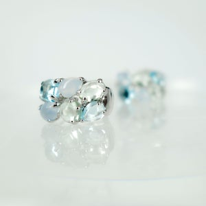 Image of 14ct white gold Topaz Cluster earrings