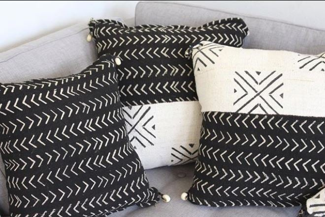 Image of Black & White Mud Cloth Pillows