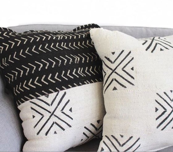 Image of Black & White Mud Cloth Pillows