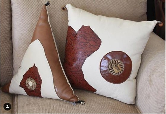 Image of Cream & Brown Triangle Leather Pillow