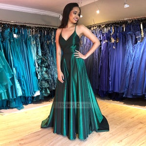 Image of Green Satin Spaghetti Strap V-Neck Open Back Long Evening Gown With Side Slit Sweep Train