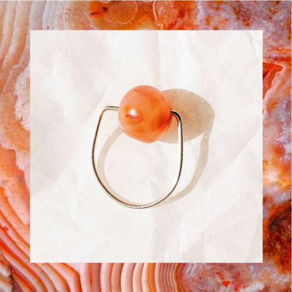 Image of BAGUE ARGENT Agate rouge